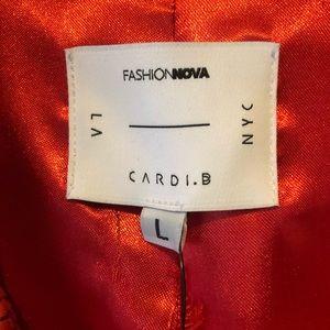 Fashion Nova Jackets & Coats - Cardi B red snake skin drench coat